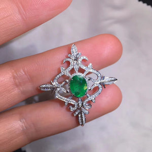 AIGS Fine Jewelry Certificate Real 18K White Gold AU750 Natural Green Emerald 1.61ct Gemstones Pendants for Women Fine Necklace