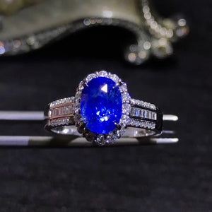 gemstone jewelry factory luxury 18k yellow gold South Africa real diamond natural blue sapphire ring for women wedding