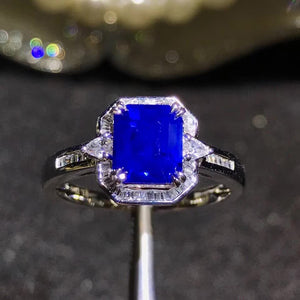 gemstone jewelry factory classic 18k white gold South Africa real diamond natural blue sapphire ring for female