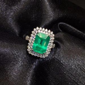Fine Jewelry AIGS Certificate Real 18K White Gold 100% Natural Emerald 3.35CT Gemstone Female Wedding Rings for women Fine Ring