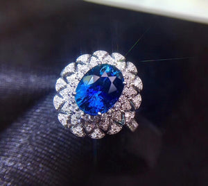Fine Jewelry Real 18K White Gold 100% Natural 3.02ct Blue Sapphire Gemstone 18k Gold Diamonds Stone Women Ring for Female Rings