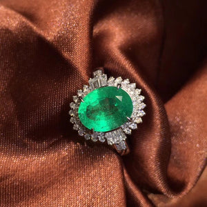 Fine Jewelry AIGS Certificate Real 18K White Gold 100% Natural Emerald 3.06CT Gemstone Female Wedding Rings for women Fine Ring