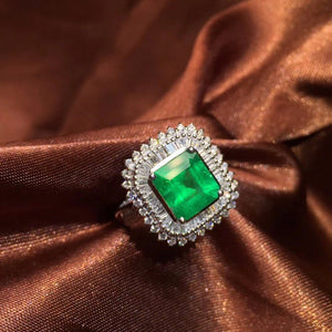 Fine Jewelry AIGS Certificate Real 18K White Gold 100% Natural Emerald 1.99CT Gemstone Female Wedding Rings for women Fine Ring