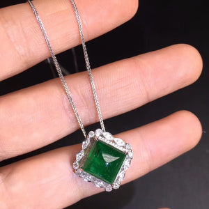 AGL Fine Jewelry Certificate Real 18K White Gold AU750 Natural Green Emerald 5.4ct Gemstones Pendants for Women Fine Necklace