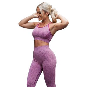 Women Gym Sets 2 Piece Fitness Clothes Red Blue Yoga Sets Leggings Running Sport Outfit Exercise Seamles Workout Clothing