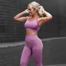 Load image into Gallery viewer, Women Gym Sets 2 Piece Fitness Clothes Red Blue Yoga Sets Leggings Running Sport Outfit Exercise Seamles Workout Clothing