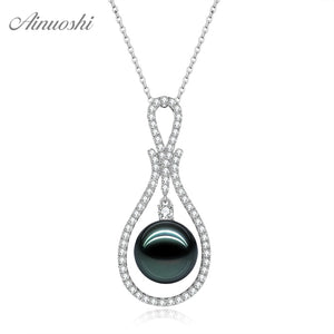 AINUOSHI 18K Gold 12mm Black Tahiti Pearl Pendant 18K White Gold/Yellow Gold/Rose Gold Diamond Jewelry Separate Droplet Pendant