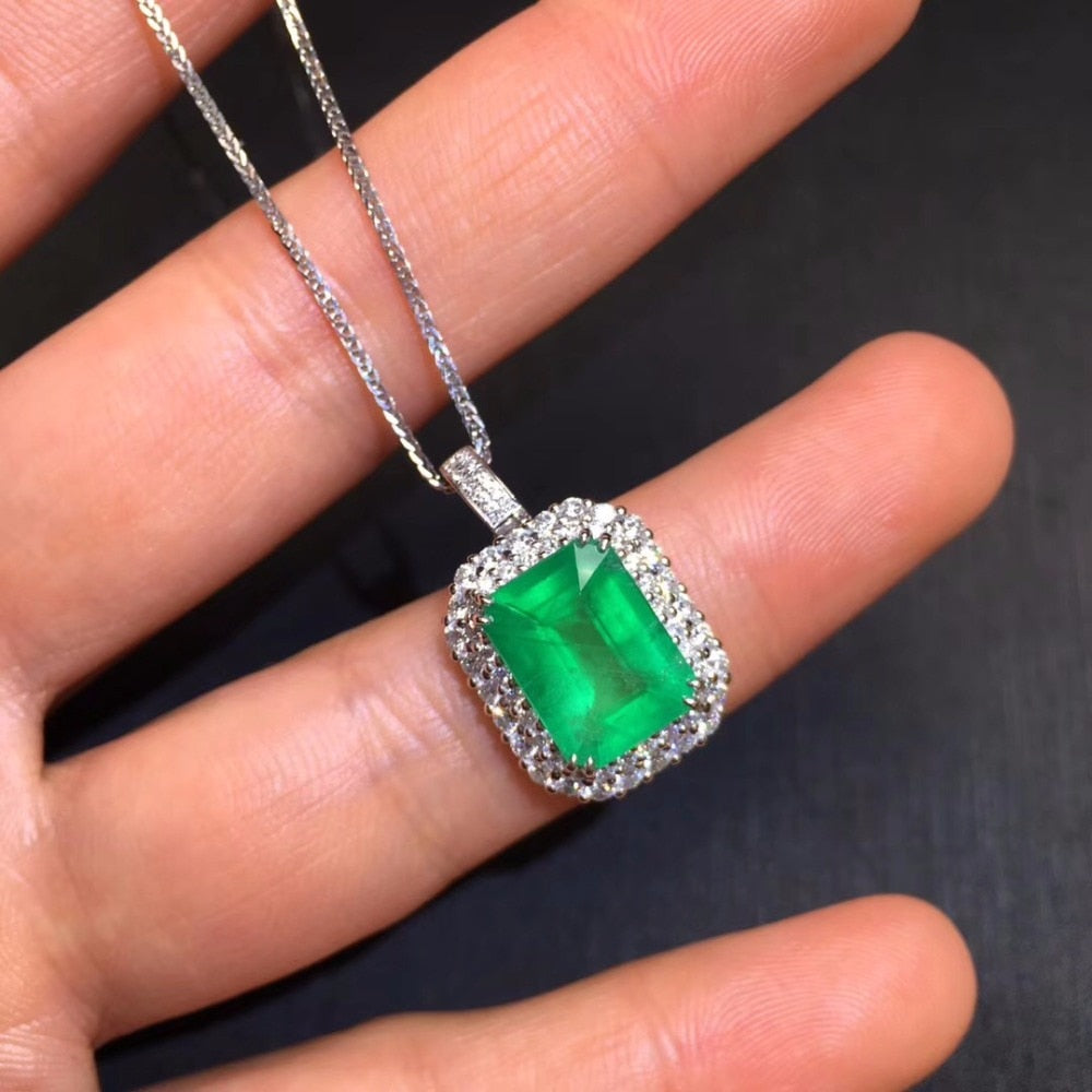 Fine Jewelry AIGS Certificate Real 18K White Gold AU750 Natural Green Emerald 3.62ct Gemstones Pendants for Women Fine Necklace