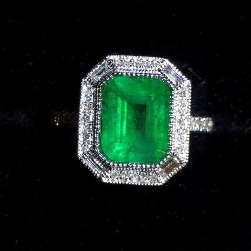 Fine Jewelry Real Pure 18K White Gold 100% Natural Emerald Gemstone 2.08ct Diamond Female's Wedding Rings for Women's Fine Rings