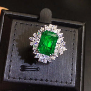 Fine Jewelry Real Pure 18K White Gold 100% Natural Emerald Gemstone 3.07ct Diamond Female's Wedding Rings for Women's Fine Rings