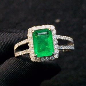 Fine Jewelry Real Pure 18K White Gold 100% Natural Emerald Gemstone 1.75ct Diamond Female's Wedding Rings for Women's Fine Rings