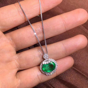 Fine Jewelry GLI Certificate Real 18K White Gold AU750 Natural Green Emerald 3.04ct Gemstones Pendants for Women Fine Necklace