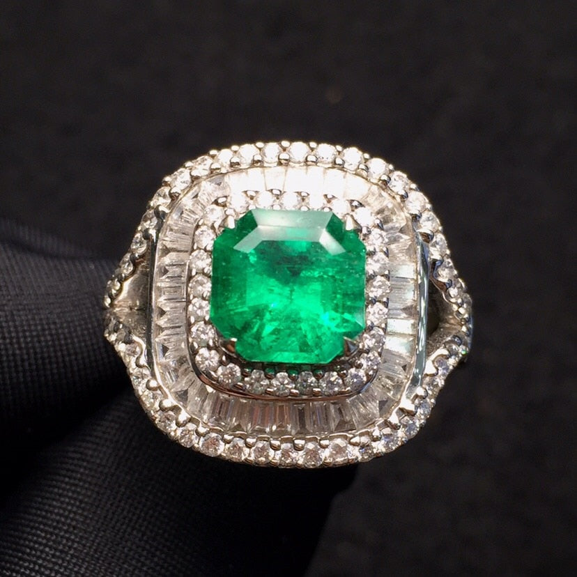 Fine Jewelry Real Pure 18 K White Gold Jewelry Real Natural Vivid Green 2.05ct Emerald Gemstones Male Rings for Men's Fine Ring