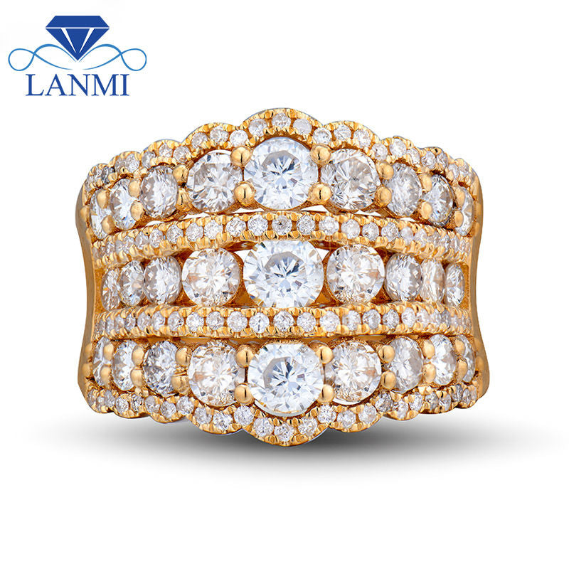 Super Elegant Natural 18K Yellow Gold Wedding Rings Natural Diamond for Women Loving Forever Luxury Jewelry Gift Royal Lady Ring