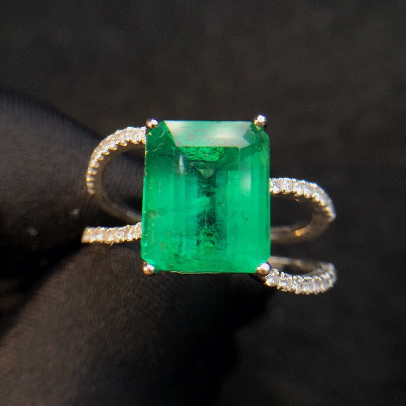 Fine Jewelry cqt Real 18K Gold 100% Natural Vivid Green Emerald Gemstone 4.24ct 18k Gold Diamonds  Female Ring for Women Rings