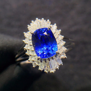 Fine Jewelry Real 18K White Gold 100% Natural Unheat 2.02ct Blue Sapphire Gemstones 18k Sapphire Diamonds Female Wedding Rings