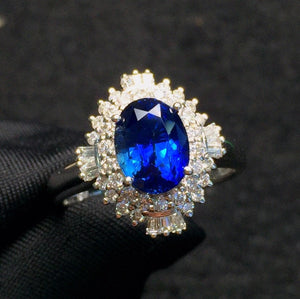 Fine Jewelry Real 18K White Gold 100% Natural Unheat 2.57ct Blue Sapphire Gemstones 18k Sapphire Diamonds Female Wedding Rings