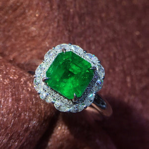 Fine Jewelry G18k Rings Real Diamonds Gold 18K White Gold Natural Emerald Gemstones 1.64ct Female Rings for women Fine Ring