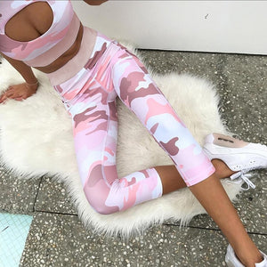 Exercise Clothing for Women Camouflage Pink Yoga Sets Cut Out Running Athletic Wear Gym Workout Outfits 2 Piece Fitness Suit