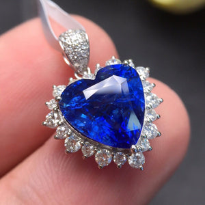 Fine Jewelry Sri Lanka Origin Real 18K White Gold AU750 100% Natural Royal Blue Sapphire Gemstones Pendants for Women Necklace