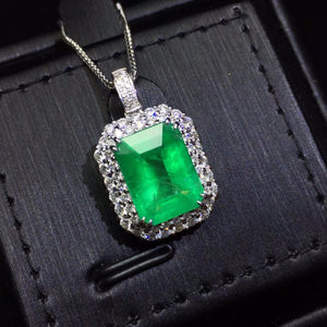 Fine Jewelry AIGS Certificate Real 18K White Gold AU750 Natural Green Emerald 4.31ct Gemstones Pendants for Women Fine Necklace