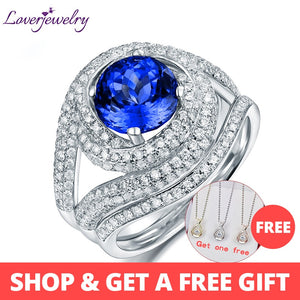 Romantic Real 14K White Gold Natural Blue Round Tanzanite Set Rings Stunning Diamond Match 2 Band  for Women Fine Jewelry