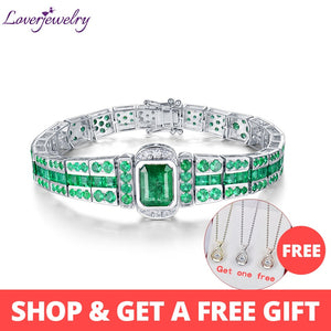 LOVERJEWELRY Unisex Bracelet Solid 18K White Gold Emerald Gemstone Women Men Bracelet Genuine Diamond Classic Bangle Jewelry