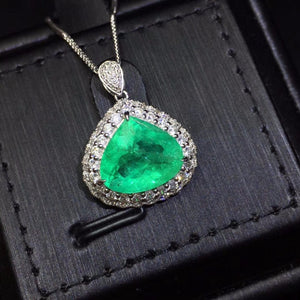 Fine Jewelry Certificate Real Pure 18 K White Gold AU750 Natural Green Emerald 4.65ct Gemstones Pendants for Women Fine Necklace