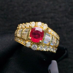 Fine Jewelry Pure 18 K Gold Jewelry Natural Red Ruby 1.01ct Diamond Wedding Engagement Female Rings for Women Fine Ring