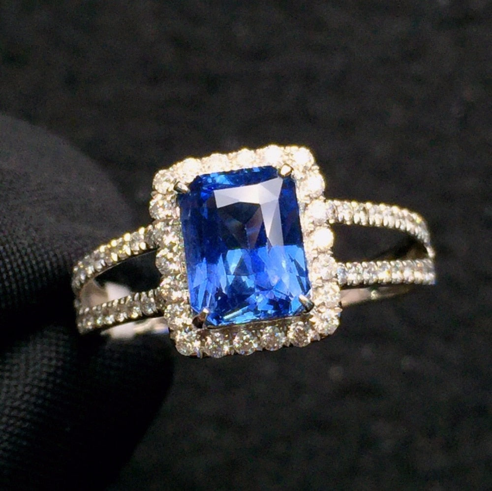 Fine Jewelry Real 18K White Gold 100% Natural Unheat 1.75ct Blue Sapphire Gemstones 18k Sapphire Diamonds Female Wedding Rings