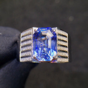 Fine Jewelry 18K White Gold Real Natural Vivid Blue Sapphire 3.61ct Gemstone Diamonds Male Rings for Men's Fine Ring