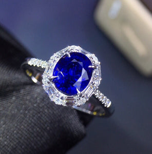 Fine Jewelry Real 18K White Gold 100% Natural 1.75ct Blue Sapphire Gemstone 18k Gold Diamonds Stone Female Ring for Women Rings