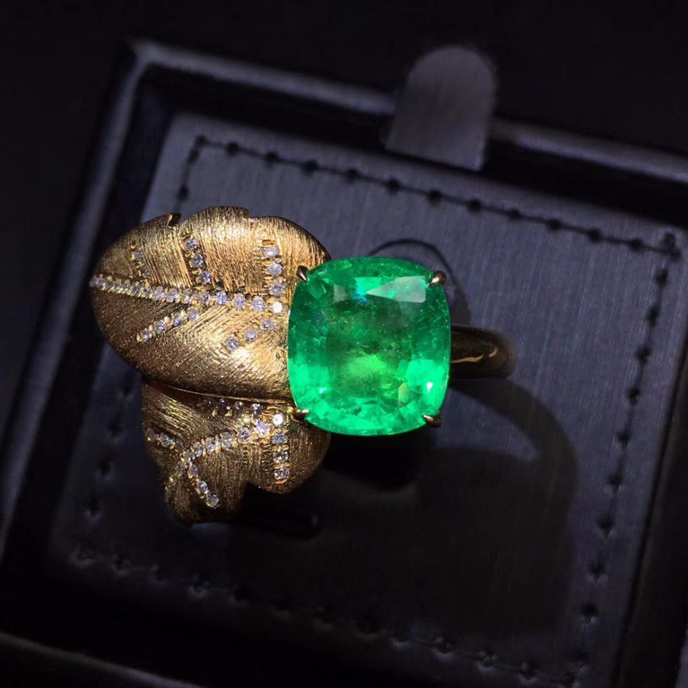 Fine Jewelry AGL Real Pure 18 K Gold 100% Natural Emerald 4.73ct Gemstone Diamonds Jewellery Female's Rings for women Fine Ring