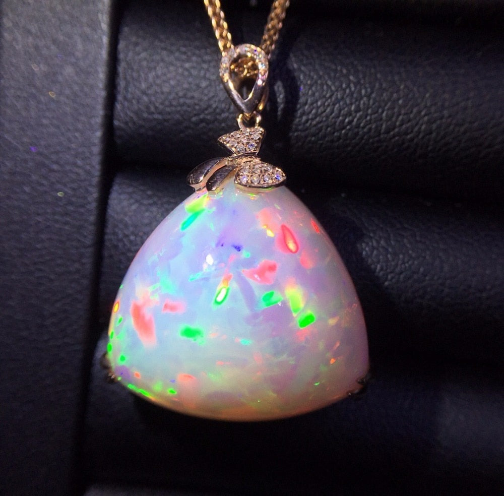 Fine Jewelry Real Pure18 K Gold AU750 G18K Natural 100% Opal Pendant 25ct Diamonds Pendant Gemstone Necklaces for Women