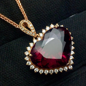 Tourmaline Pendant Fine Jewelry Real 18 K Gold 100% Natural Rubi Tourmaline 8.2ct Gemstones Diamond Pendant Necklace