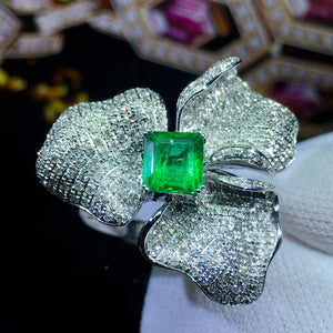 Emerald Ring Fine Jewelry 18 K Gold Jewelry Real Vivid Green Emerald Gemstone 0.86ct Diamonds Female Wedding Engagement Rings