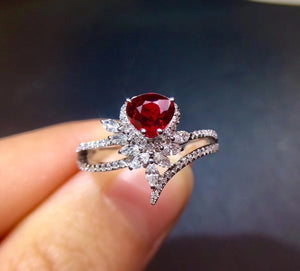 Fine Jewelry Pure 18 K White Gold Real 100% Natural Red Ruby 0.98ct Diamonds Jewelry Female's Rings for Women Fine Ring