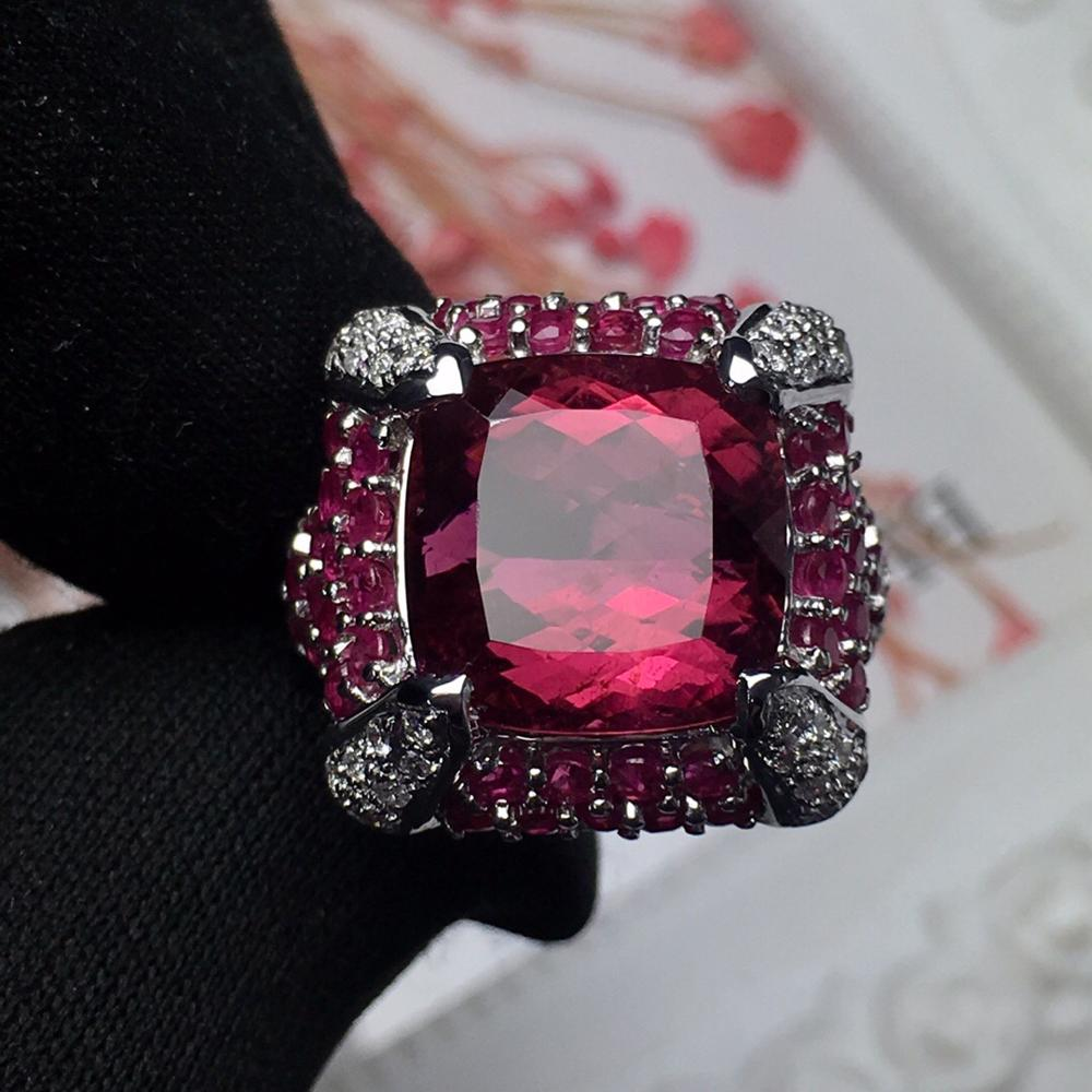 Fine Jewelry Real 18K Rose Gold AU750 100% Natural Rubi Tourmaline 10.2ct Gemstones Diamonds Female Rings for Women Fine Ring