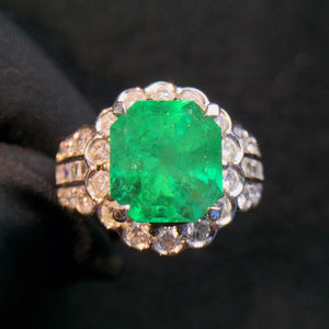 Fine Jewelry cqt Real 18K Gold 100% Natural Vivid Green Emerald Gemstone 4.934ct 18k Gold Diamonds  Female Ring for Women Rings