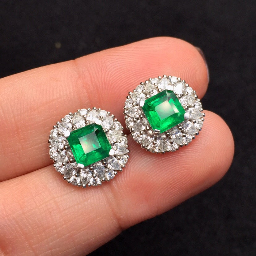 Fine Jewelry Real Pure 18 K White Gold Jewelry AU750 100% Natural Emerald Gemstones 1.81ct Female's Stud Earrings for Women