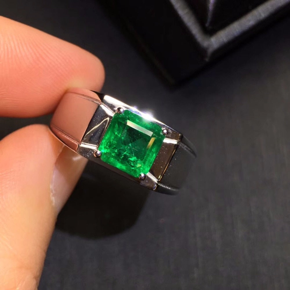 AIGS Fine Jewelry 18K White Gold Real Natural Vivid Green 2.08ct Emerald Gemstones Male Rings for Men's Fine Ring