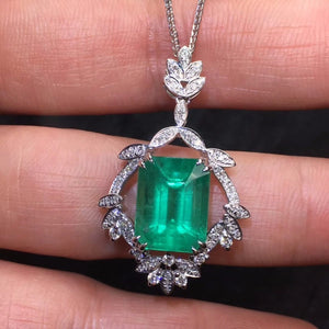Fine Jewelry Real Pure 18 K White Gold AU750 100% Natural Emerald Gemstones 4.61ct Female's Pendants for Women Fine Necklaces