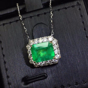 AIGS Fine Jewelry Certificate Real 18K White Gold AU750 Natural Green Emerald 2.28ct Gemstones Pendants for Women Fine Necklace