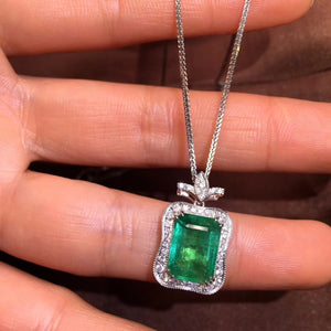 Fine Jewelry AIGS Certificate Real 18K White Gold AU750 Natural Green Emerald 3.79ct Gemstones Pendants for Women Fine Necklace