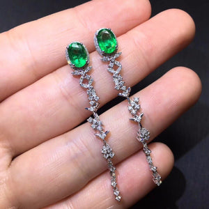 Fine Jewelry Real Pure 18 K Gold AU750 Green Emerald 2.02ct Gemstones Diamonds Female Drop Earrings for Women Fine Earrings
