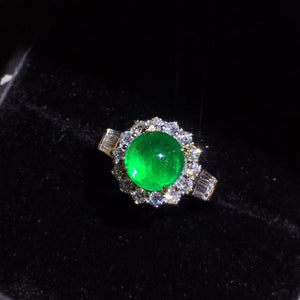 Fine Jewelry GIL 18K Gold 100% Natural Vivid Green Emerald Cabochon Gems 2.39ct 18k Gold Diamonds  Female Ring for Women Rings