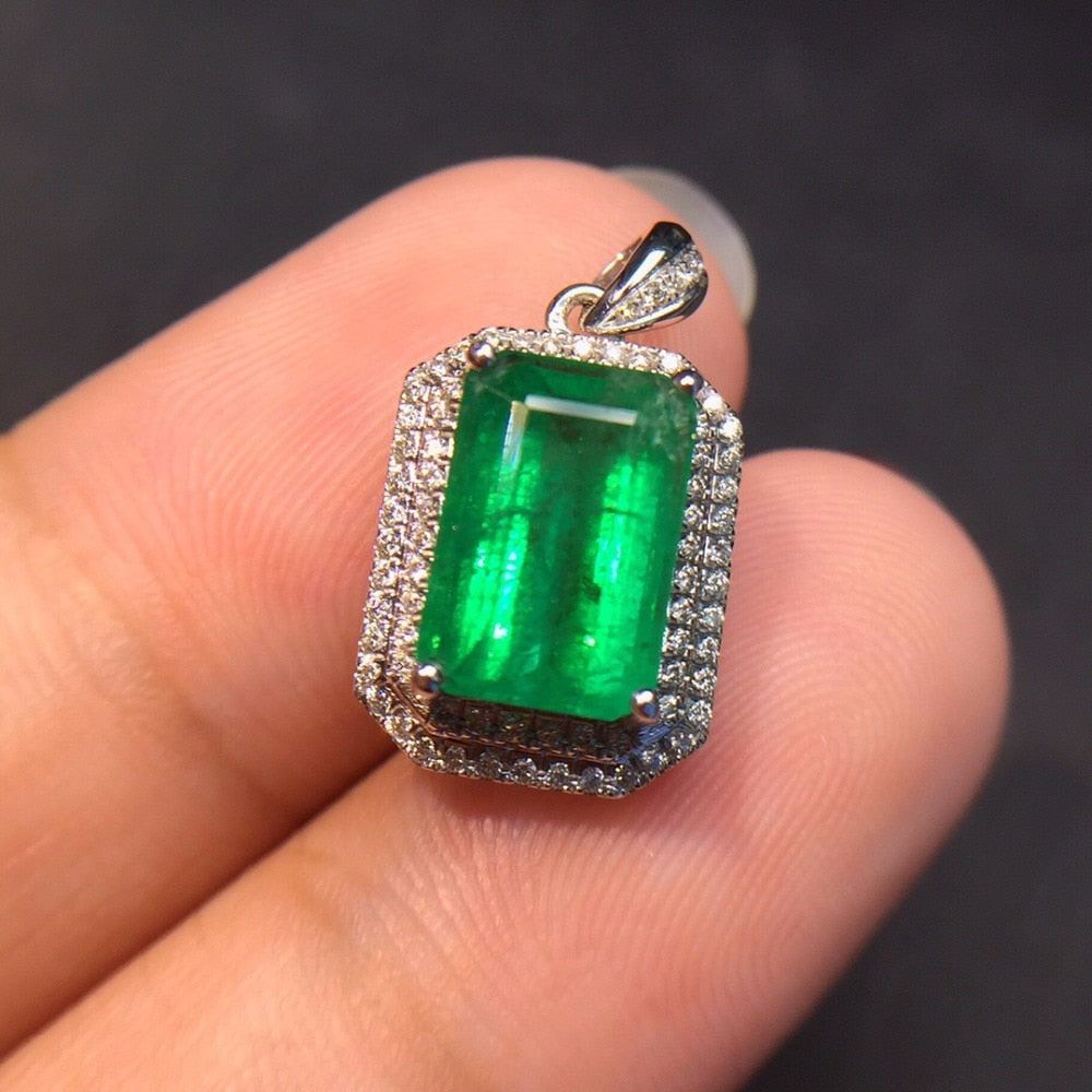 Fine Jewelry Real Pure 18 K White Gold AU750 100% Natural Emerald Gemstones 2.7ct Female's Pendants for Women Fine Necklaces