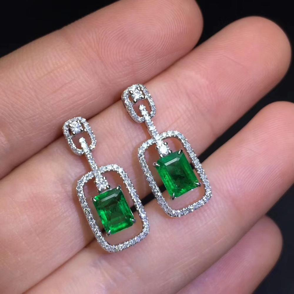 Emerald Dangle Earrings Pure 18 K Gold Jewelry AU750 Vivid Green Emerald Gemstones 1.96ct Diamonds Earrings for Women earrings