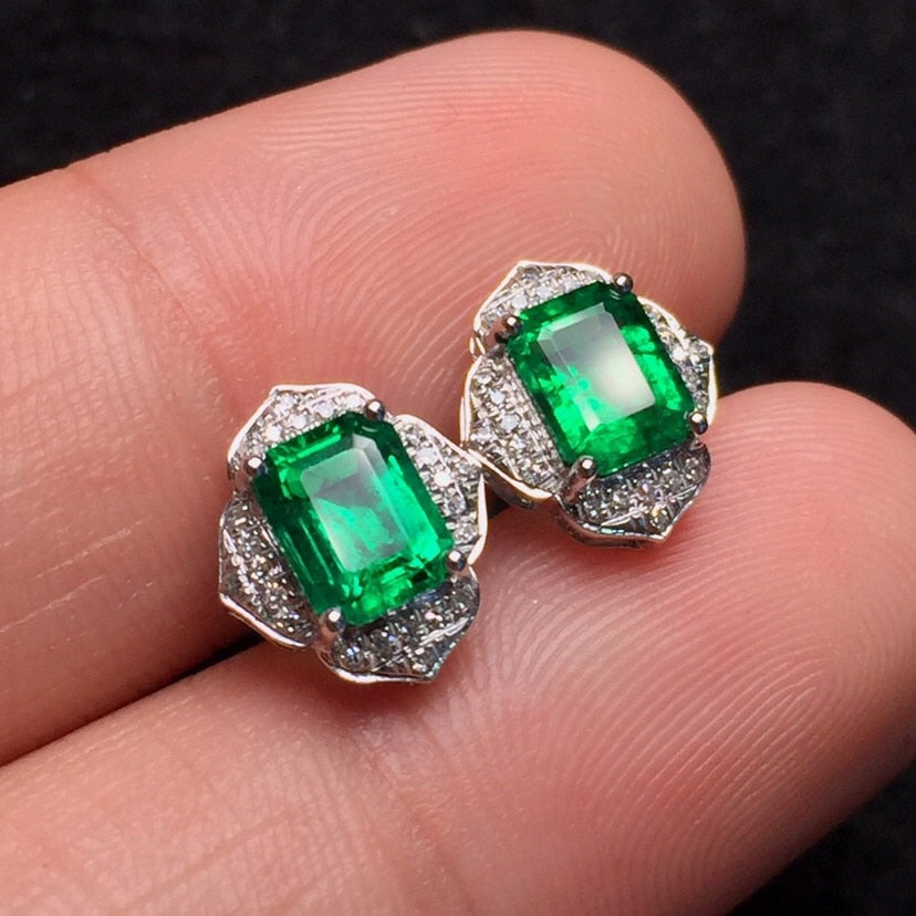 Fine Jewelry Real Pure 18 K White Gold Jewelry AU750 100% Natural Emerald Gemstones 1.78ct Female's Stud Earrings for Women