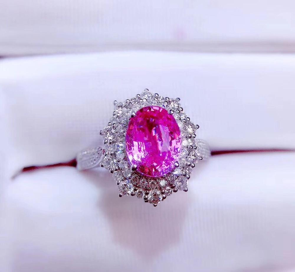 Fine Jewelry Pure 18 K White Gold 100% Natural Unheat Pink Sapphire 2.3ct Gemstones 18k Sapphire Diamonds Female Wedding Rings